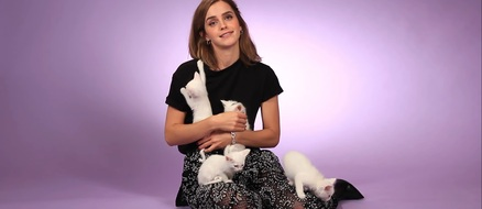 Emma Watson Plays with Kittens and Talks After Beauty and The Beast
