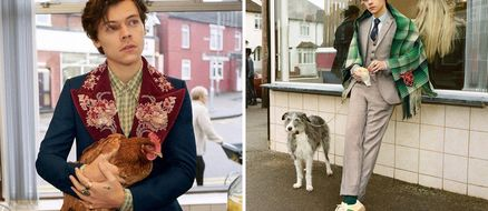 Harry Styles, Two Chickens, & Several Dogs Pose for Gucci in This Fish & Chips Shop