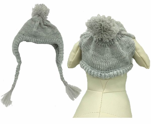 Grey Knit Dog Hats Accessory for Dogs Small Animals Cats