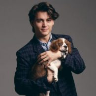 Young Johnny Depp Dog Blue Coat