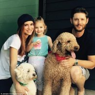 Jensen Ackles and Danneel Harris Ackles with their family and Oscar