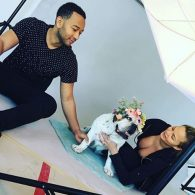 John Legend and Chrissy Teigan at a photoshoot