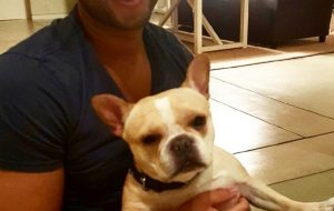 John Legend with his bulldog