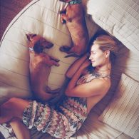 Rosie Huntington-Whiteley's pet Dolly and Peggy