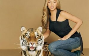 Beyonce and a Tiger
