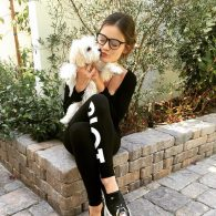 Lucy Hale Kissing Elvis Maltipoo