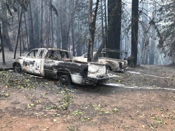 melted truck california wildfires