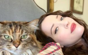 Kat Dennings and cat Millie