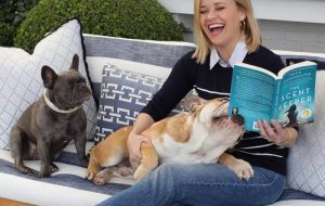Reese Witherspoon with dogs Lou and Pepper